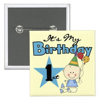 Muchacho es mis camisetas y regalos del cumpleaños pin cuadrada 5 cm