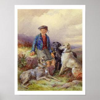 Muchacho escocés con los wolfhounds en un landsca  poster
