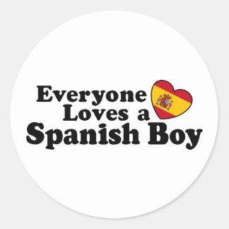 Muchacho español pegatina redonda