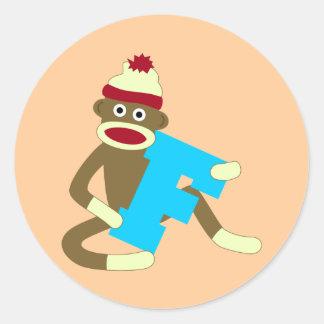Muchacho F del monograma del mono del calcetín Etiquetas Redondas