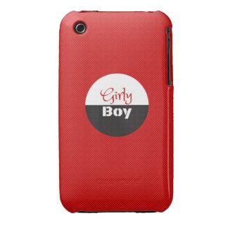 Muchacho femenino rojo iPhone 3 Case-Mate carcasas