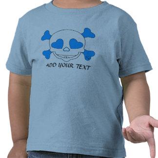 Muchacho fresco del cráneo del bebé azul camiseta