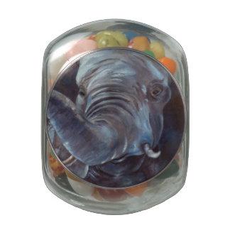 Muchacho grande del elefante jarrones de cristal