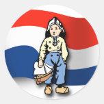 Muchacho holandés pegatina redonda