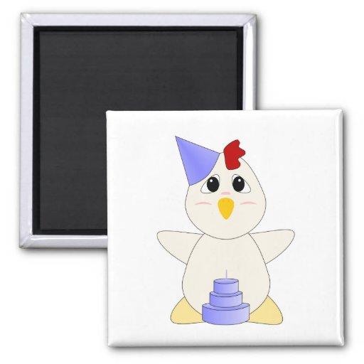 Muchacho Huggable del cumpleaños del pollo Imanes