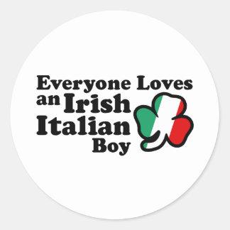 Muchacho italiano irlandés pegatina redonda