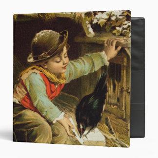 """Muchacho joven con los pájaros en la nieve carpeta 1 1/2"""""""