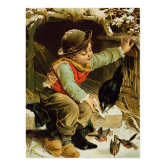 Muchacho joven con los pájaros en la nieve postal