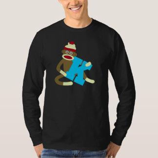 Muchacho K del monograma del mono del calcetín Camisas
