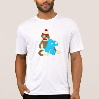 Muchacho K del monograma del mono del calcetín Camiseta