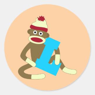Muchacho L del monograma del mono del calcetín Pegatina Redonda