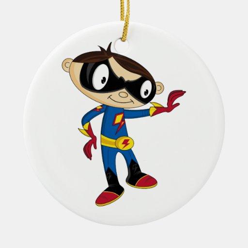 Muchacho lindo del super héroe ornamento de navidad
