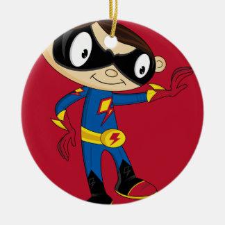 Muchacho lindo del super héroe ornaments para arbol de navidad