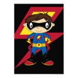 Muchacho lindo del super héroe invitación 8,9 x 12,7 cm