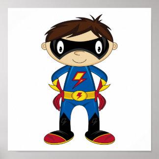 Muchacho lindo del super héroe poster