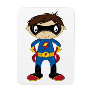 Muchacho lindo del super héroe rectangle magnet