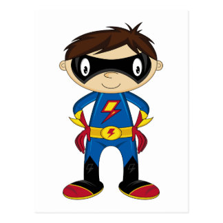 Muchacho lindo del super héroe tarjeta postal