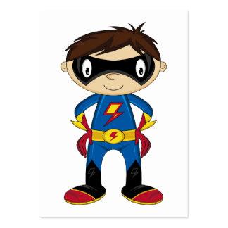 Muchacho lindo del super héroe tarjetas de visita grandes
