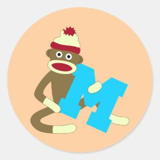 Muchacho M del monograma del mono del calcetín Etiquetas Redondas