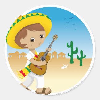 Muchacho mexicano pegatina redonda