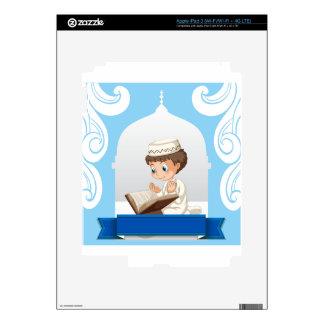 Muchacho musulmán que ruega en la iglesia iPad 3 pegatina skin