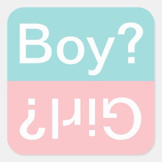 ¿Muchacho o chica? El género del | revela a los Pegatina Cuadrada