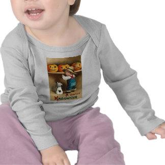 Muchacho perrito y Jack-o-linterna de Halloween d Camiseta