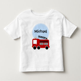 Muchacho personalizado del coche de bomberos camisas