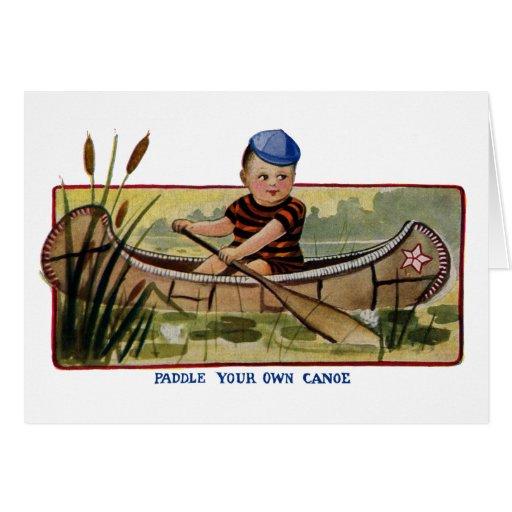 Muchacho que bate la canoa a través de vintage de  tarjeta de felicitación