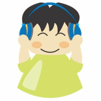Muchacho que escucha los auriculares esculturas fotográficas