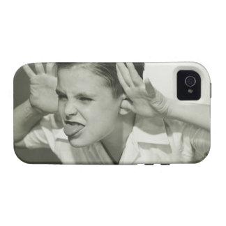 Muchacho que hace la cara Case-Mate iPhone 4 funda