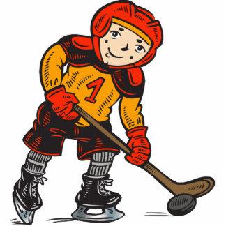 Muchacho que juega a hockey esculturas fotograficas
