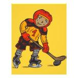 Muchacho que juega a hockey flyer personalizado