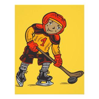 "Muchacho que juega a hockey folleto 8.5"" x 11"""