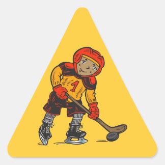 Muchacho que juega a hockey colcomanias de triangulo personalizadas