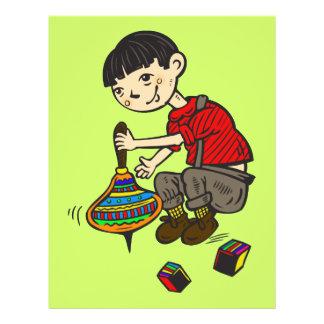 """Muchacho que juega con los juguetes 2 folleto 8.5"""" x 11"""""""