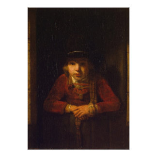 Muchacho que mira a través de la ventana c 1647 impresiones
