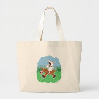 Muchacho que monta un caballo bolsas de mano