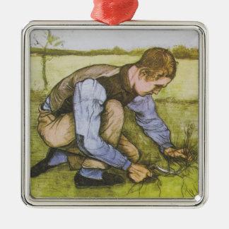 Muchacho que se agacha con la hoz adorno navideño cuadrado de metal