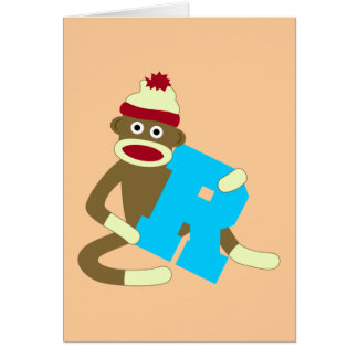 Muchacho R del monograma del mono del calcetín Tarjeta