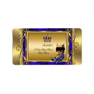 Muchacho real del oro de la fiesta de bienvenida etiquetas de dirección