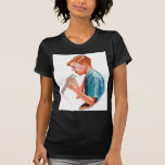 Muchacho retro del arte del libro de escuela de la camisetas