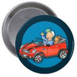 Muchacho rojo del coche del juguete y botón redond pin
