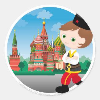 Muchacho ruso pegatina redonda