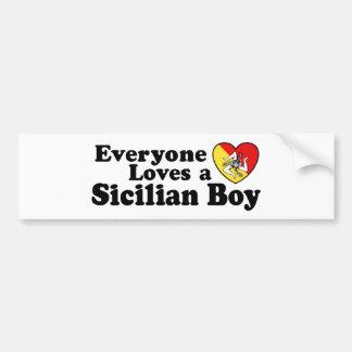 Muchacho siciliano pegatina de parachoque
