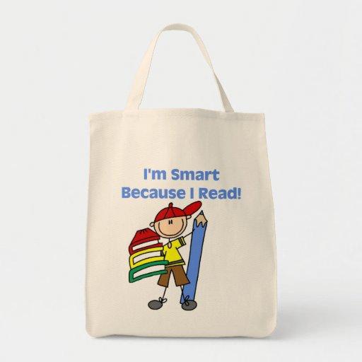 Muchacho Smart porque leí Bolsa Tela Para La Compra