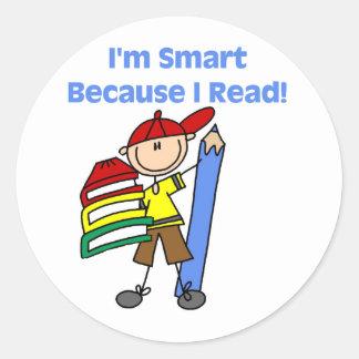 Muchacho Smart porque leí Pegatinas Redondas