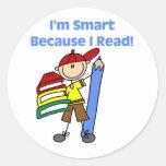 Muchacho Smart porque leí Pegatina Redonda