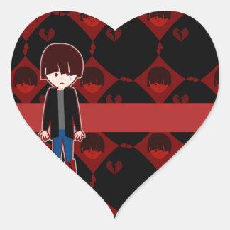 Muchacho solo triste de Emo Pegatina En Forma De Corazón