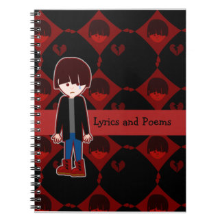 Muchacho solo triste de Emo Spiral Notebooks